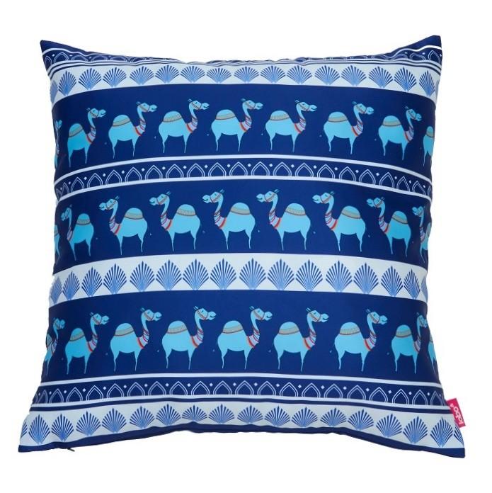 Blue Camel Parade Cushion Cover